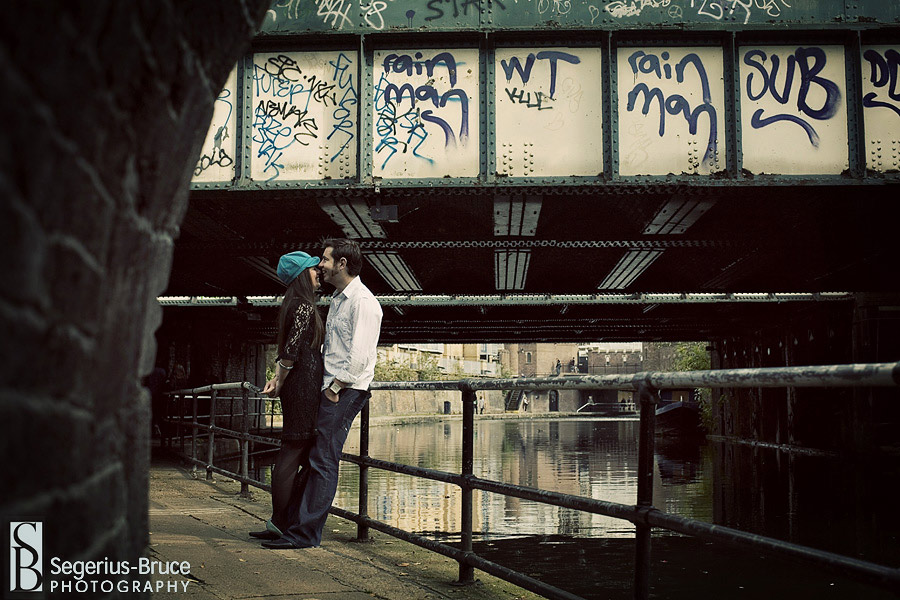 couple\'s engagement session around Camden Lock, North London