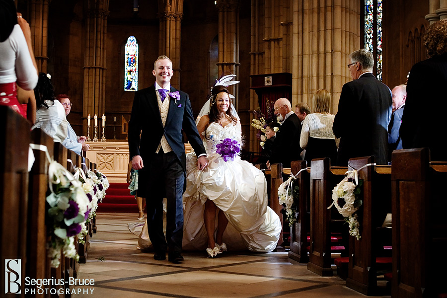 Bride and Groom leaving Arundel Cathedral after wedding ceremony