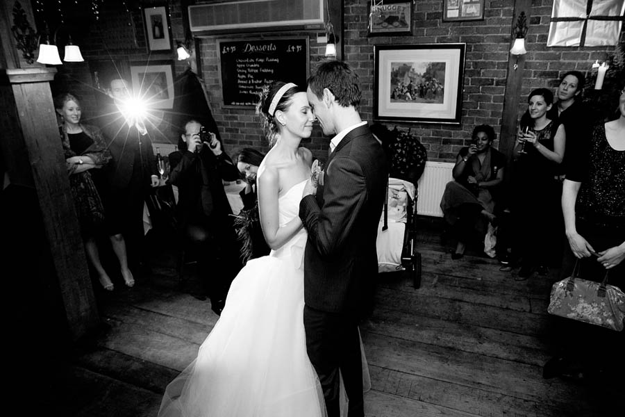 Couple dances for the first time at their wedding
