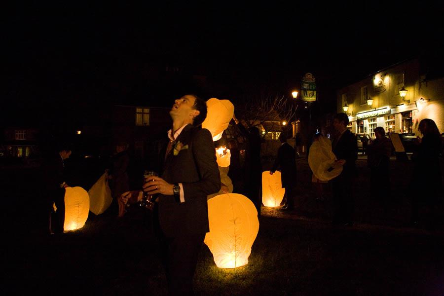 Wedding reception outdoor wish lanterns