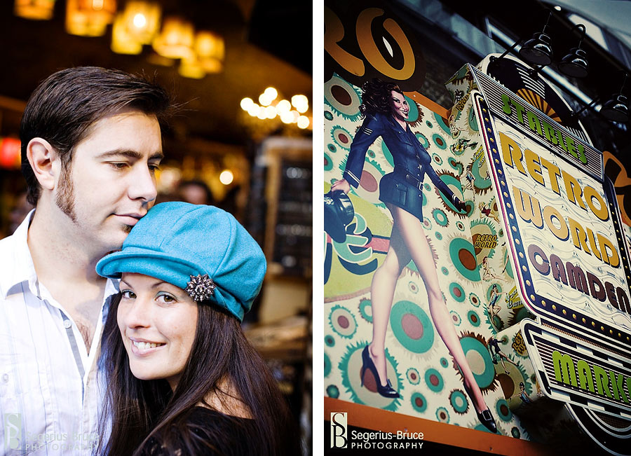 Vitage inspired engagement shoot at Camden Market, North London