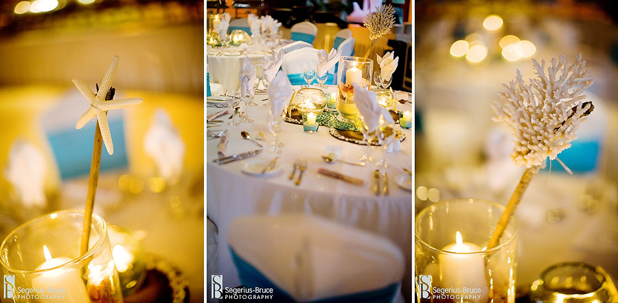 Beach Wedding theme table layouts.