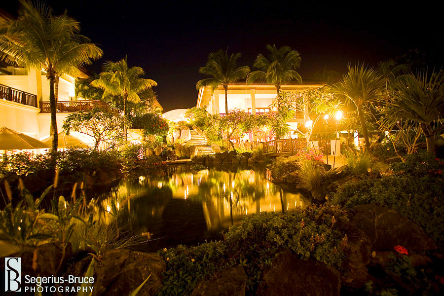 the Hilton Hotel in Maurtius photographed at Night during a wedding