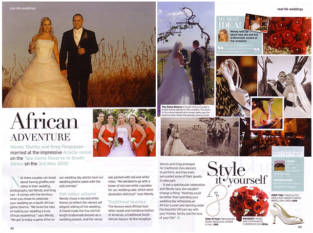 Wedding at Tala Game Reserve Published in Perfect Wedding Magazine