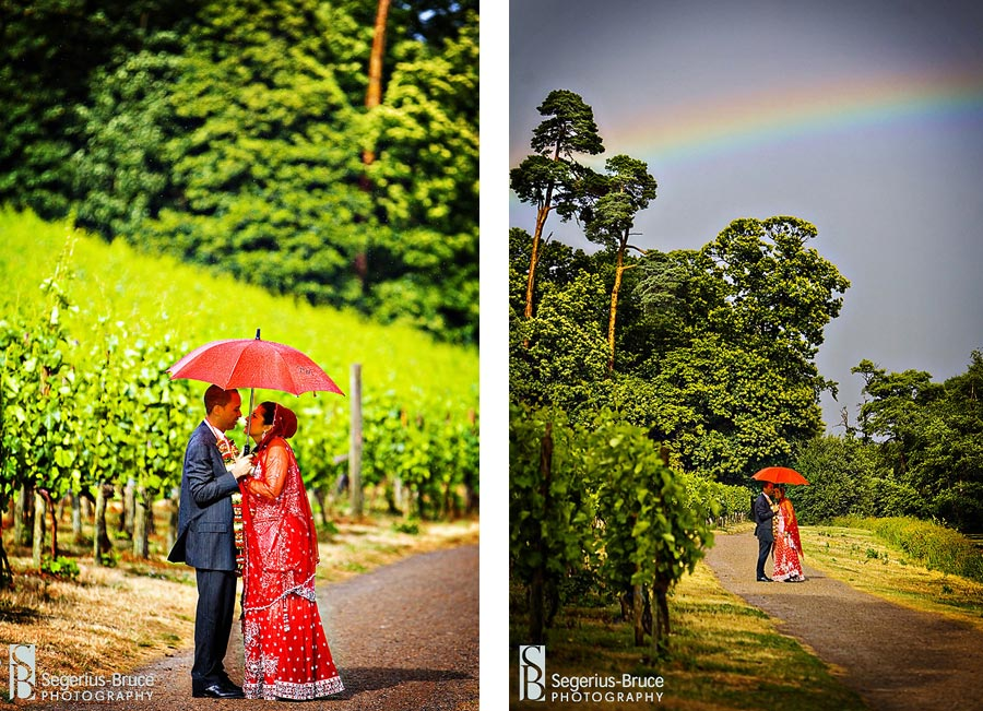 Rainbow during creative wedding photography at Painshill Park