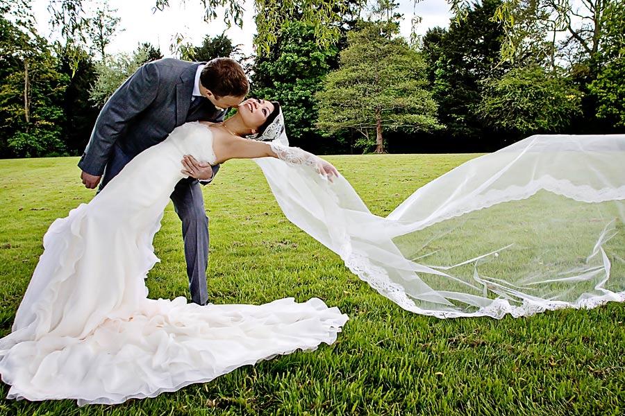 Bride and Groom creative portraits in Surrey for wedding at Hartsfield Manor