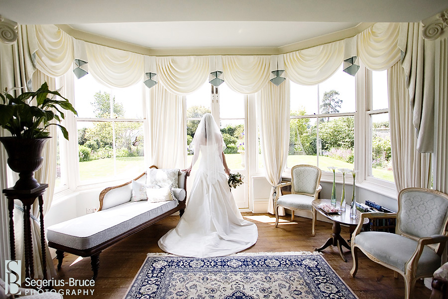 Bride waiting for ceremony to start at Parley Manor in Dorset