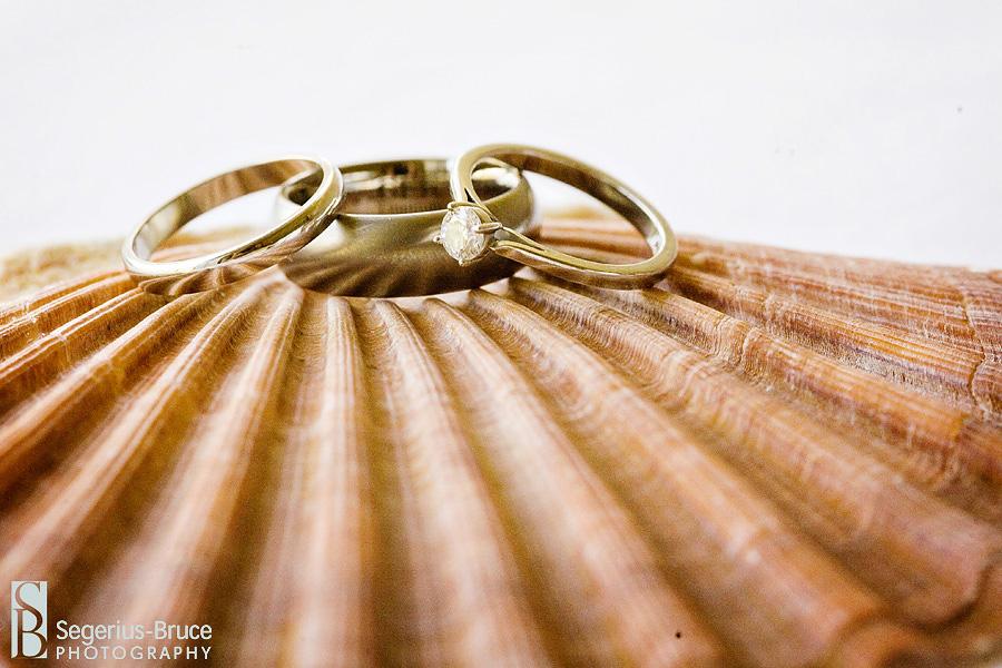 Wedding Rings detail shot with beach theme