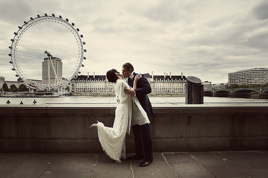 Bride and Groom with the London Eye