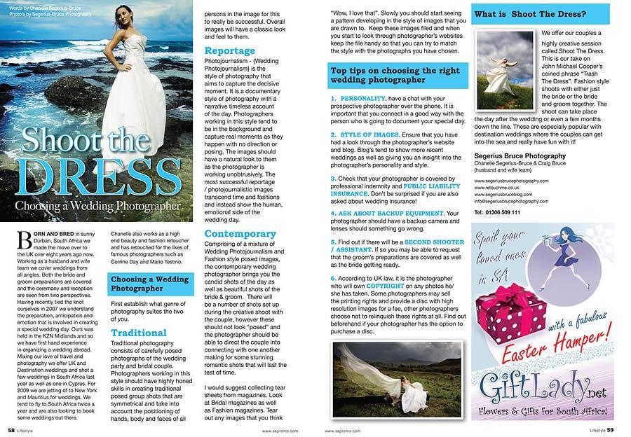 Wedding feature article in SA Promo Magazine