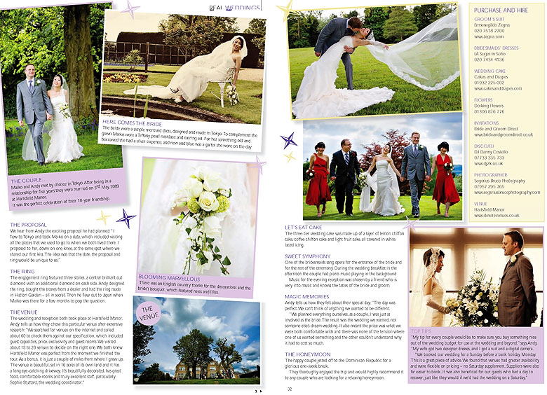Your Surrey Wedding magazine features a real wedding by Segerius Bruce Photography