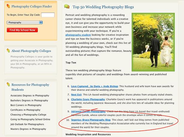 Top 10 Wedding Photographer Blog
