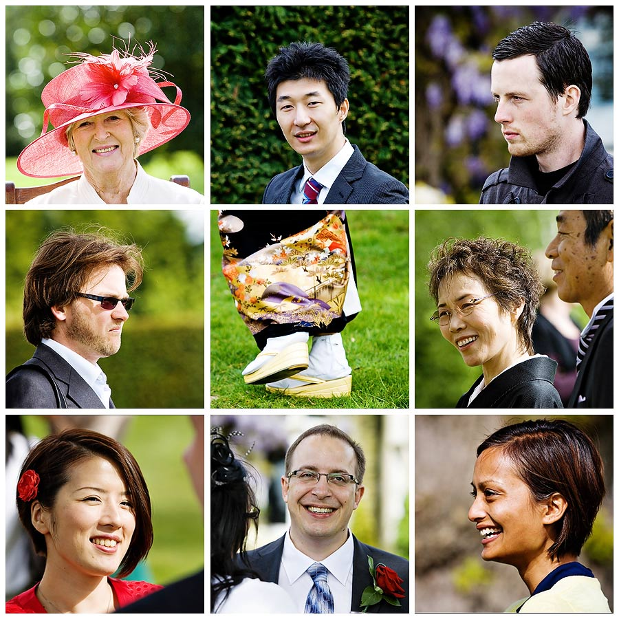 Photojournalism shots of wedding guests in Surrey