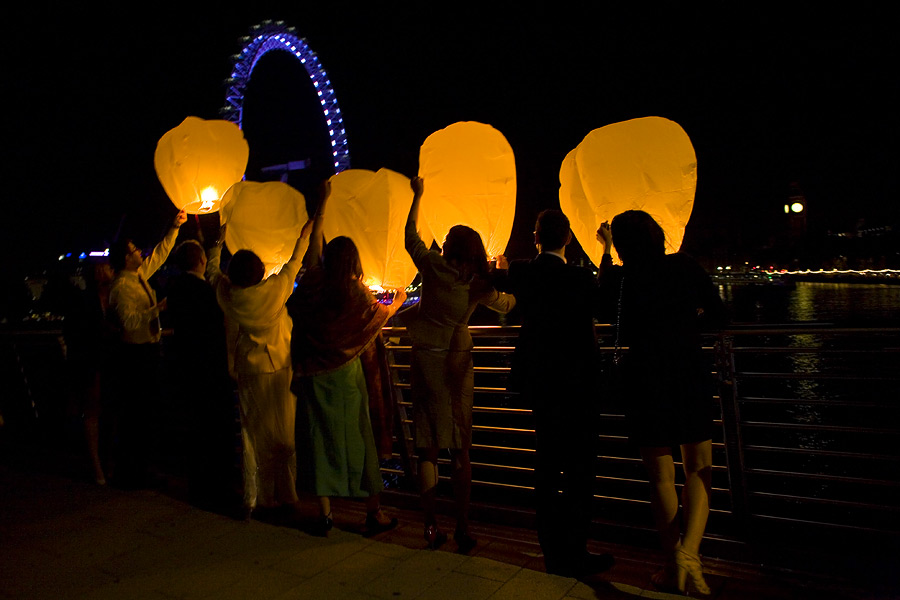 Wish Lanterns on Embankment bridge